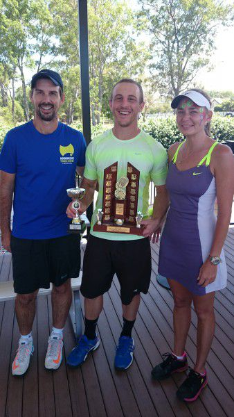 Men's Singles Champion Cornel Mirciov with Centre Manager Rob Daley & Assistant Manager Benita Smith