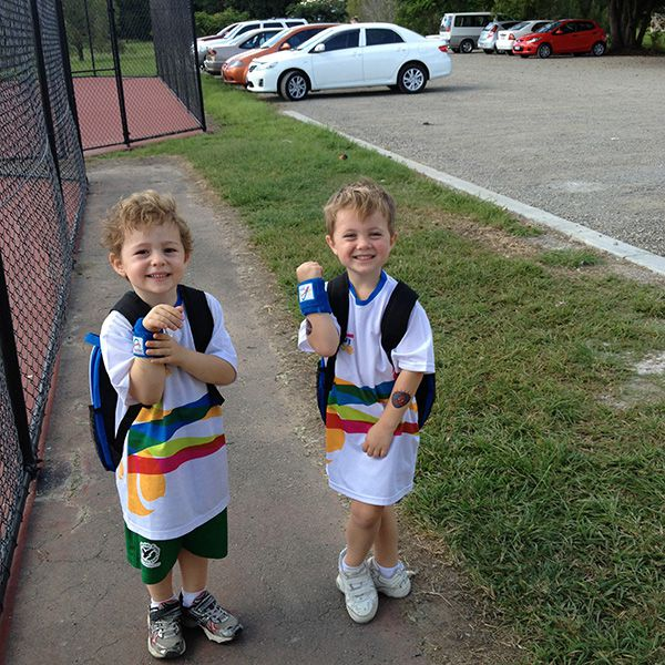 Eddie and Rocco showing off their Hot Shots gear