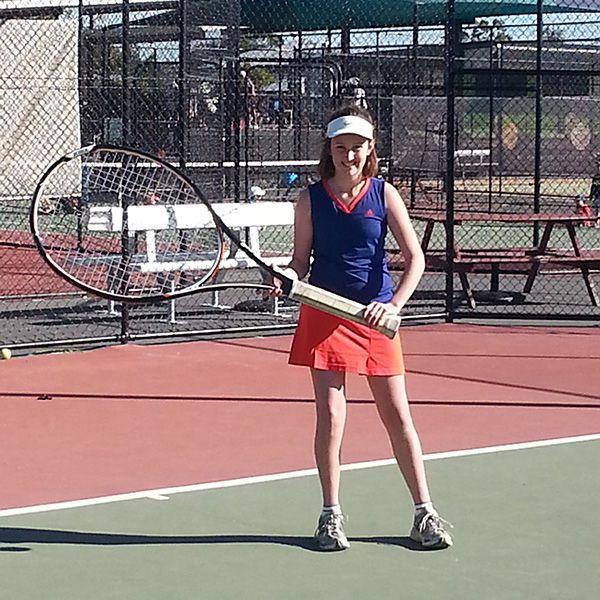 Georgia Morris showing off her new racquet!