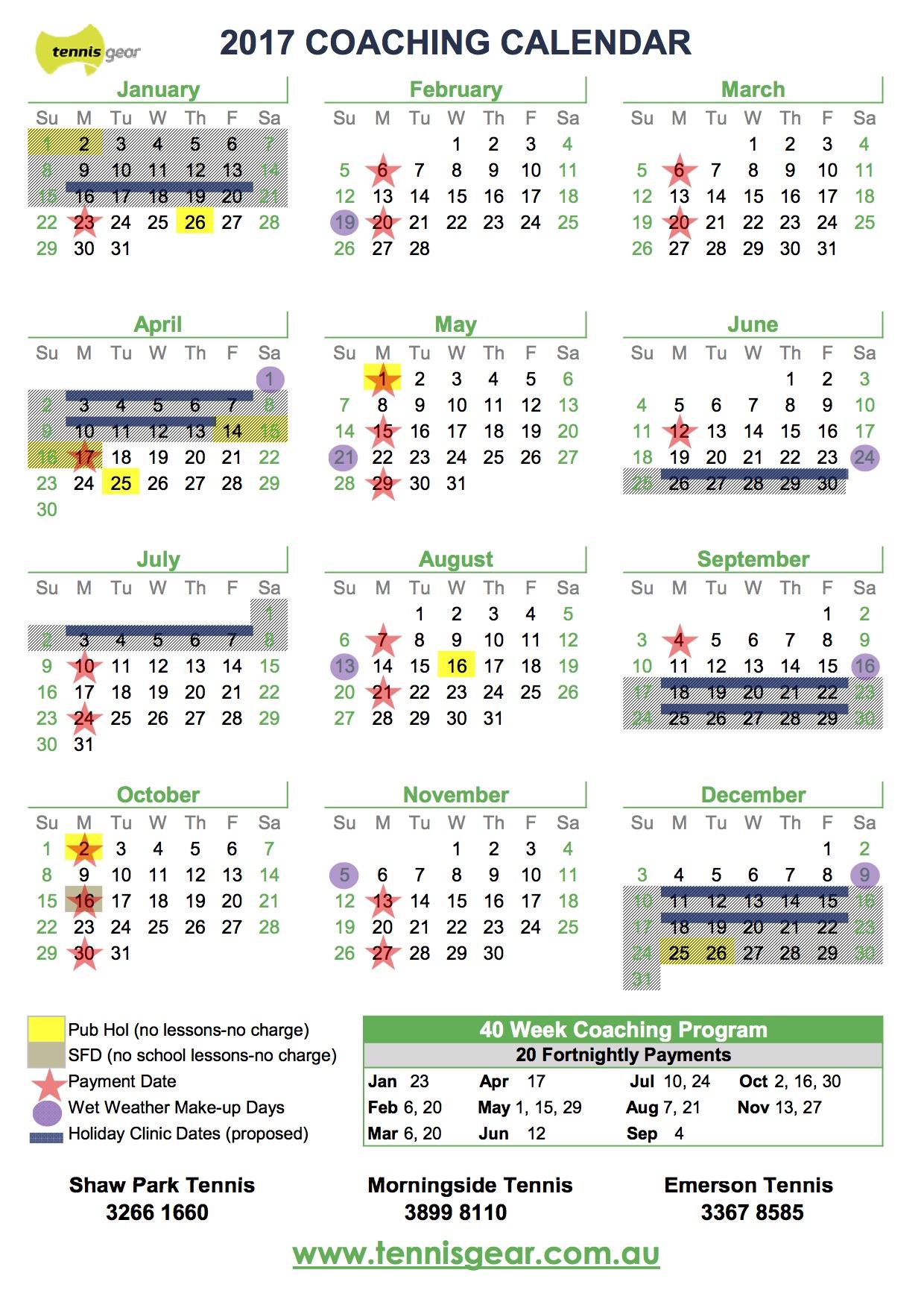 2017 Coaching Calendar