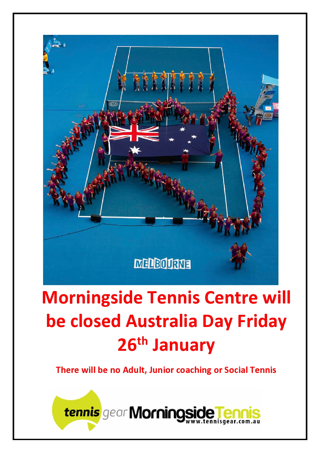 Aus Day Closed 2018